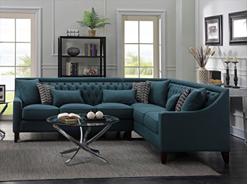 Iconic Home FSA2676 AN Aberdeen Chic Home Linen Tufted Down Mix Modern  Contemporary Right Facing Sectional Sofa, Teal