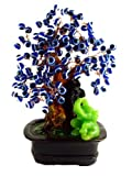 Blue Evil Eye Beads Bonsai Tree Decoration with Lucky Elephant for Protection ( with a Betterdecor Gift Bag)