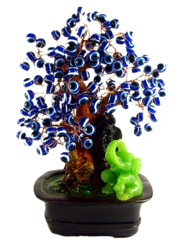 Elephants Evil (Blue Evil Eye Beads Bonsai Tree Decoration with Lucky Elephant for Protection ( with a Betterdecor Gift Bag))