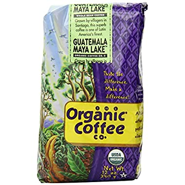 The Organic Coffee Company, Guatemala Maya Lake Whole Bean Coffee, 12 Ounce Bag