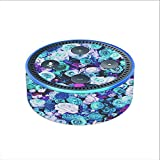Skin Decal Vinyl Wrap for Amazon Echo Dot 2 (2nd generation) / Blue Roses Floral Pattern
