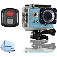 FrenzyDeals Blue Ultra HD Wifi Waterproof Sports Camera with Wrist RF remote + FrenzyDeals Microfiber Cloth