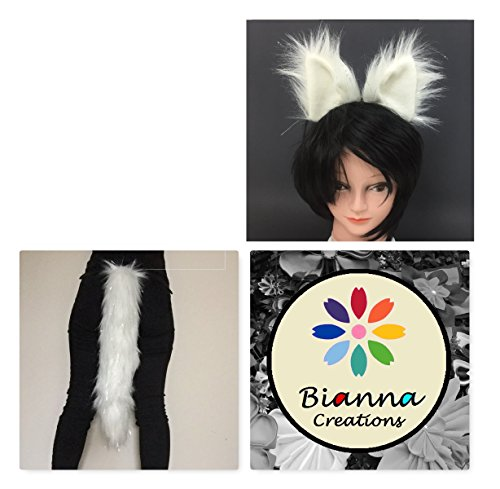 """Bianna Crystal Fox Luxury Cosplay Set, Star Wars Vulptex Fanart Inspired, You choose: 20"""" Tail, Ears or set, Super Soft Faux Fur, Adult and Kids Costume Dress Up Pet Play"""