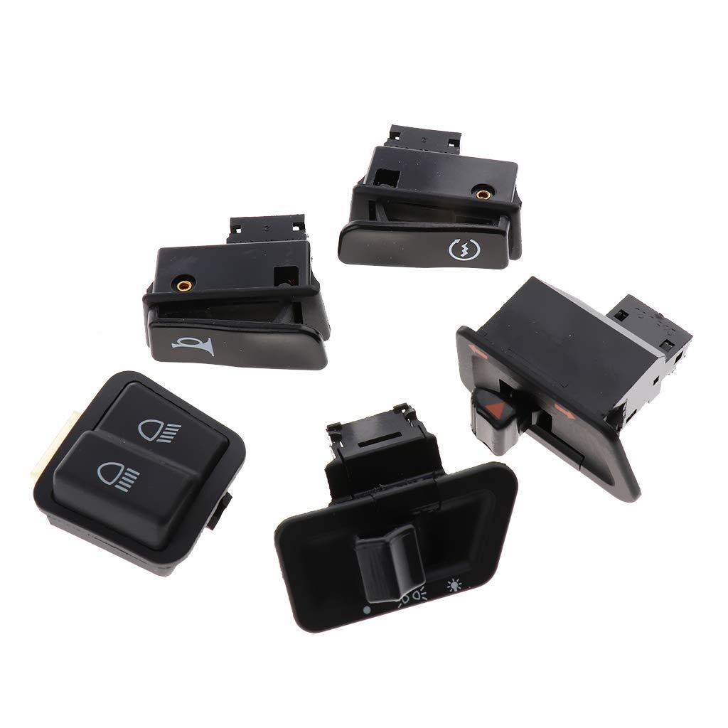 perfk Set de 5 Interrupteur de Moto Bouton D/'arr/êt du Klaxon Commutateur de Phares pour P/édale Electrique V/éhicule Moto