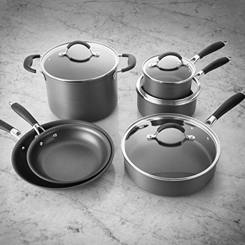 FortheChef 10 Piece Hard Anodized Nonstick Aluminum Cookware Set with Quantanium Coating