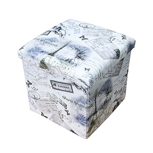 Rusee Collapsible 15'' Cube Fabric Folding Square Storage Ottoman Home Décor Foot Rest Stool Seat Coffee Table With Lift Top