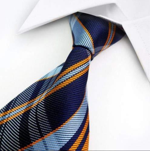 - HS store Classic Blue Orange Check 100% Silk Jacquard Woven Striped Necktie Men's Tie