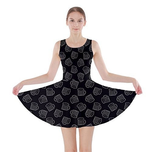 Jogja Doodle Beers Pattern Skater Dress Black