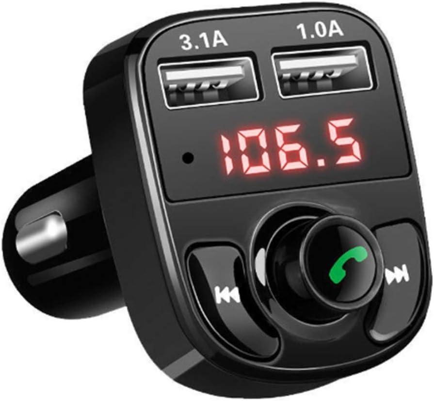 Transmisor FM Bluetooth V5.0,3 USB QC3.0 y PD 18W Carga Rapida Manos Libres Coche, Reproductor MP3 Coche Soporte Tarjeta TF 64 G y Disco U, Siri
