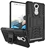 Parallel Universe Lenovo Vibe K5 Note Dual Layer Rugged and Tough Defender Back Cover Case with built-in stand - Black