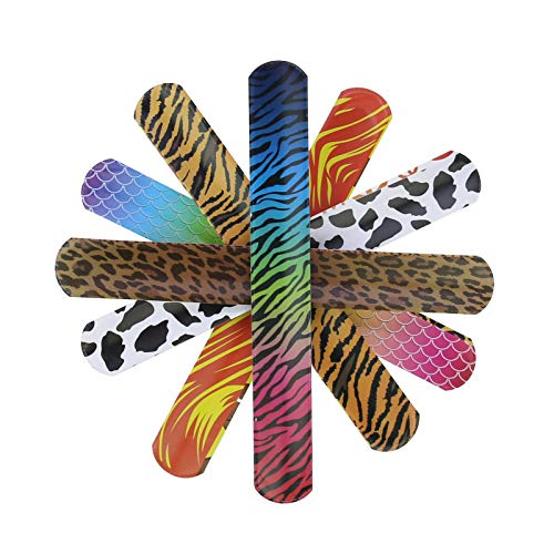 lieomo Animal/Heart Print Slap Bracelets Party Wrist Strap for Adult Teens Kids,Party Favors Pack,Assorted Colors (Pack of 25) ()