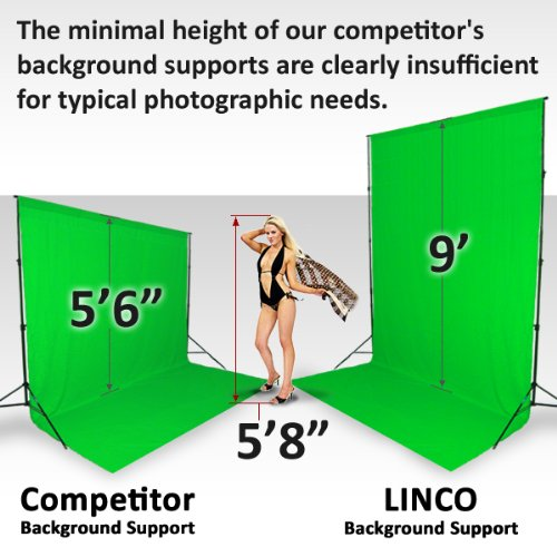 Linco 10ft Triple Crossbar Background Support Stand Kit Photo Studio 2 Piece 9 feet Backdrop Stands and 3 Piece 10 ft Crossbar (4 Sections) with Triple Mount on Lincostore by Linco