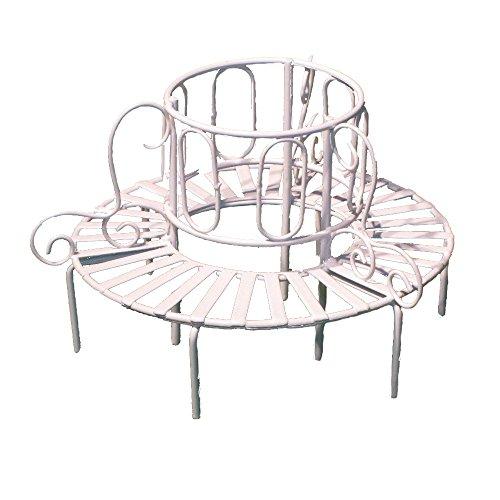 (Provence BF3125 Iron Mini Fairy Garden Tree Bench, Cream)