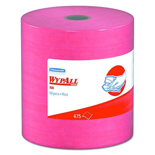 WypAll 41055 X80 Wipers, HYDROKNIT, Jumbo Roll, 12 1/2 x 13 2/5, Red, 475 Wipers Per Roll