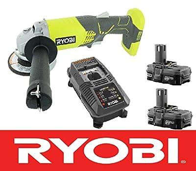 """Ryobi 18v 4-1/2"""" Angle Grinder Tool P421 + (2) Batteries P102 + Charger P118"""