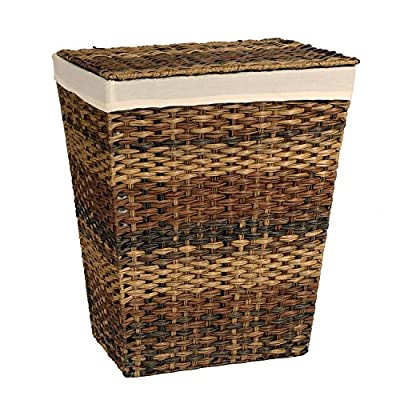 Seville Classics Water Hyacinth Oval Double Hamper, Hand-Woven -  - laundry-room, hampers-baskets, entryway-laundry-room - 515kHBB4%2BuL. SS400  -