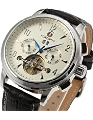 Forsining Mens Automatic Tourbillon Day Calendar Leather Strap Military Collection Watch FSG16577M3S2