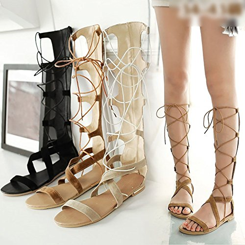 Odema Mujer Corte Romana Rodilla Alta Strappy Gladiador Thong Botas Planas Sandalias 4-Amarillo