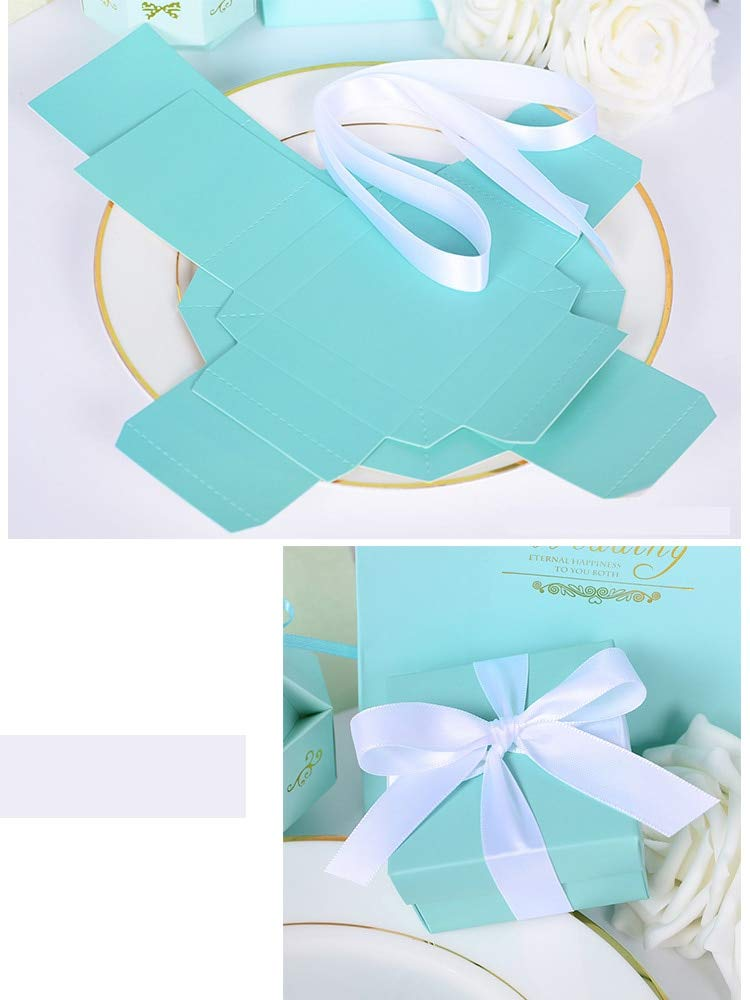 Box With Ribbon - Elegant Luxury Mint Blue Cube Fashion Wedding Paper Candy Box With Ribbon Gifts Favor Decor - Of Set Handle Closure