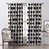Hengshu Retro Waterproof Window Curtain Various Sunglasses Feminine Fashion Theme Women Cool Summer Concept Tourist Travel Decorative Curtains for Living Room W84 x L84 Multicolor