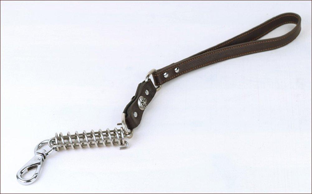 1.87ft lungo e 0,75 pollici Wide Patrol No-pull Genuine corda guinzaglio con metallo inossidabile forza della molla tampone per cani di taglia grande Rantow durevole di cuoio del cane Leads Comportamento di formazione Nero