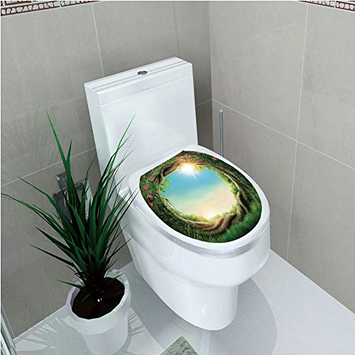 Toilet Sticker 3D Print Design,Tree,Enchanted Forest in Spring Fresh Growth Foliage with Blossoms Fairytale Fantasy,Green Pink Cocoa,for Young Mens,W11.8