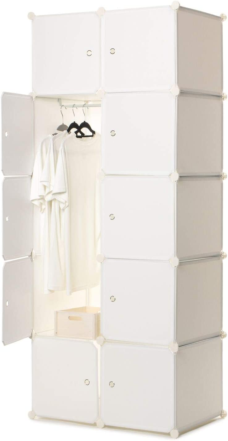 Home Treats Cubed Panel Portable Wardrobe & Hanging Rail. Foldable Closet Bedroom Storage Organizer Unit for clothes, toys, books, towels, 10 Cubes (Small)