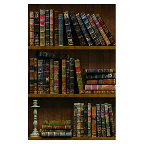 Yija Self-Adhesive Vintage Bookshelf Peel-Stick Wallpaper Backsplash Shelf Liner Removable Door Vinyl Flooring Stickers 17.7inch by 98inch