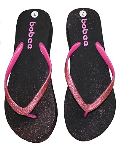 Womens Wedge Flip Flop With Glitter Straps and Comfortable Footbed Pink DQtgnkyDX6