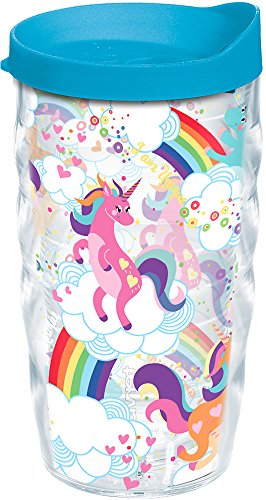 Tervis 1224158 Unicorns and Rainbows Tumbler with Wrap and Turquoise Lid 10oz Wavy, Clear