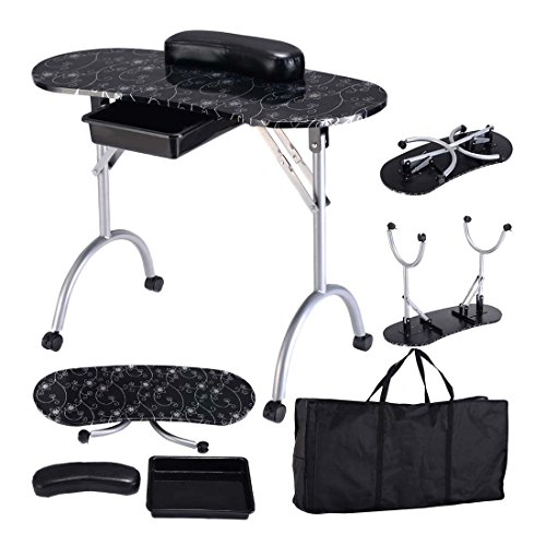 Black Manicure Nail Table Portable Station Desk Spa Beauty Salon Equipment – 35.4″x14.5″x26.7