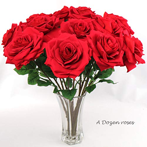 - 1 Dozen Luxurious Silk Red Roses with 20-Inch Extra Long Stems | Ultra-Realistic Large, Soft Velvet Petals | Artificial Roses for Decoration, Backdrops, Weddings, Bouquets