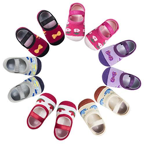 Aosler 6 Pairs Baby Girls Non Skid Anti Slip Socks Toddler Crew Socks With Strap Cute Mary Jane Socks Gift for 6-12 Months Infant