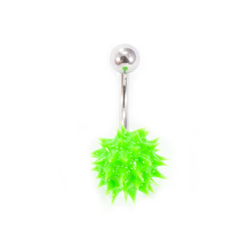 Pierce Plex Belly Button Ring Navel Piercing with Spike Silicone Ball