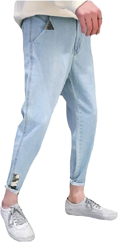 cheelot Mens Fashion Camo Comfort Trousers Denim Pants Loose Fit Washed Jeans