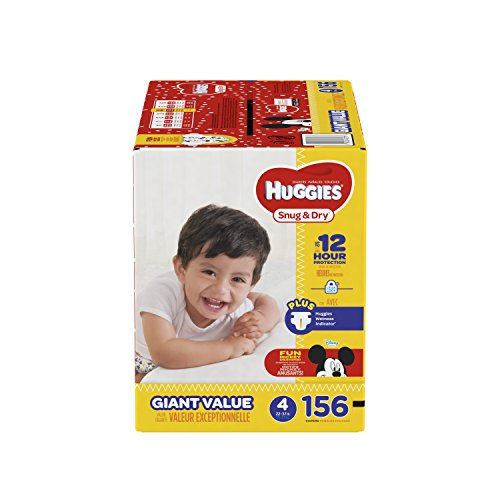 HUGGIES Snug & Dry Diapers, Size 4, for 22-37 lbs, Pack of 156 Count Baby Diapers, Packaging May Vary