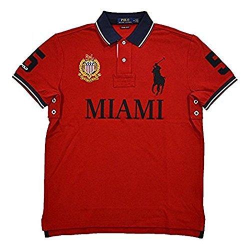 ns Custom Slim Fit Mesh City Polo Shirt (Large, Red Miami) ()