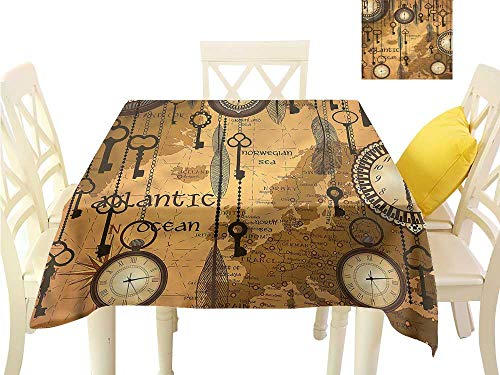 Stripe Clock Tabletop - Davishouse Flow Spillproof Fabric Tablecloth Classic Map Clocks Feathers for Kitchen Dinning Tabletop Decoration W63 x L63