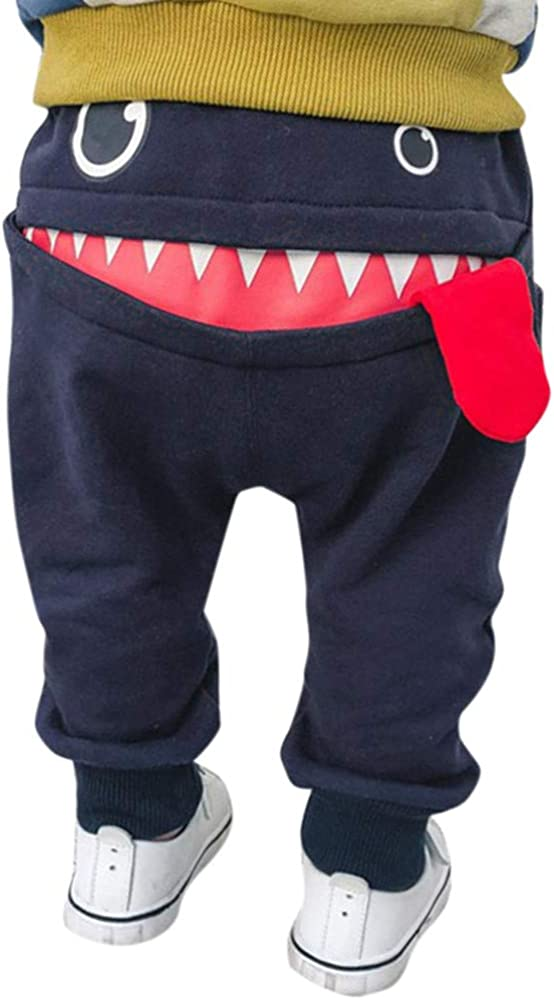 PinkLu Pantalones Harem De NiñOs TiburóN Gran Lengua Pantalones Bebé NiñOs NiñAs Dibujos Animados TiburóN Lengua Harem