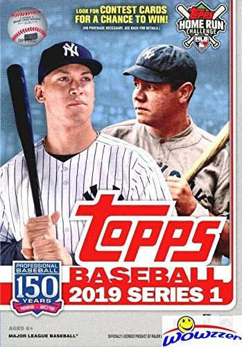 5a5a2f12 2019 Topps Series 1 MLB Baseball EXCLUSIVE HUGE Factory Sealed 67 Card  Hanger Box with 1984 Topps Baseball & Topps Insert Cards!