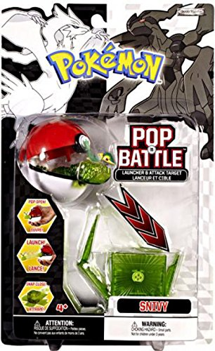 Pokemon Pop 'n Battle Launcher with Attack Target B&W Series #1 Snivy (Grass-Type Starter)