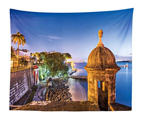 Lunarable Puerto Rico Tapestry King Size, Coast at Paseo de la Princesa Retro Style Architectural Elements Photography, Wall Hanging Bedspread Bed Cover Wall Decor, 104
