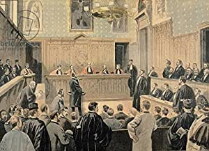 The Panama Trial, from le Petit Journal, engraved by Fortune Louis Meaulle (1844 – 1901) 2 nd January 1898 (Colour Litho) (187775), lino, 100 x 70 cm