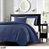 3 Piece 104 x 94 Extra Wide Navy Blue Quilted Coverlet King Set, Oversized Bedding French Country Classic Stitched Lightweight Summer Navy Blue Drops Over Edge of Mattress, Microfiber Polyester