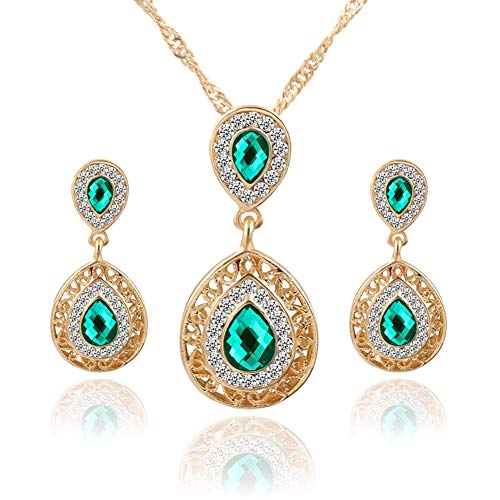 AILUOR Fashion Waterdrop Crystal Jewelry Set, Retro Vintage Celtic Knot Waterdrop Green Gemstone Water Drop Pendant Necklace Stud Earrings Jewelry Set for Women Mother Bridal Wedding (Gold)