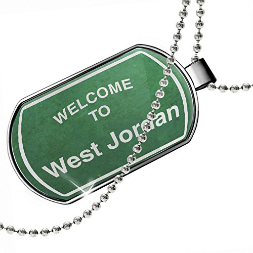 Dogtag Green Road Sign Welcome To West Jordan Dog tags necklace - Neonblond by NEONBLOND