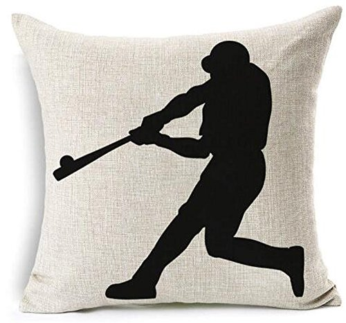 Baseball Club Community Team Athlete Lovers Gift Cotton Linen Throw Pillow Case Cushion Cover Home Sofa balcony Decorative 18'' X 18 '' (5)