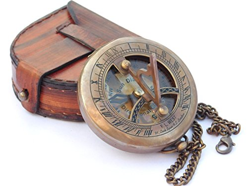 NEOVIVID Brass Sundial Compass with Leather Case and Chain - Push Open Compass - Steampunk Accessory - Antiquated Finish - Beautiful Handmade Gift -Sundial Clock ()