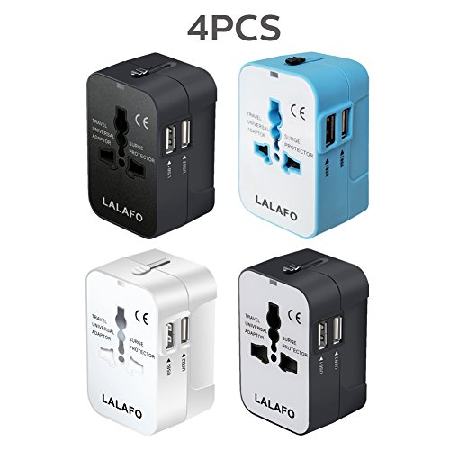 All in One International Universal Travel Adapter,Dual USB Charging Ports Converter for USA EU UK AUS European Compatible with Mobile Phone,Power Bank,Tablet,Laptop and Earphone. (201-4color)
