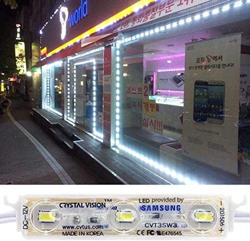 Crystal Vision Genuine Samsung Plug and Play Super Bright StoreFront LED 50ft 120W (White) Made in Korea